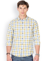 Mufti Men White & Blue Checked Casual Shirt