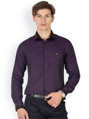 Mufti Men Purple Checked Standard Fit Formal Shirt