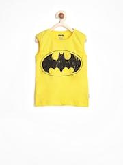 Batman by Kids Ville Boys Yellow Printed T-shirt