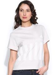 Adidas Women Light Beige SC LOGOSTR Printed T-shirt