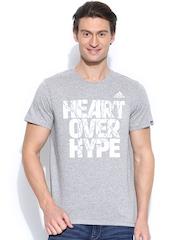 Adidas Men Grey Melange Heart Over Hype Printed Basketball T-shirt