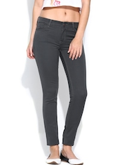 Tokyo Talkies Women Charcoal Grey Slim Fit Jeans