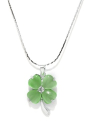 Pretty Women Green & Steel-Toned Pendant with Chain