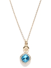 Pretty Women Gold-Toned & Blue Pendant with Chain