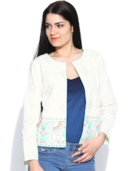 Global Desi Women Off-White Embroidered Ethnic Jacket