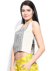 Global Desi Women Off-White Printed Crop Top