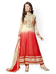 Riti Riwaz Beige & Red Faux Georgette Unstitched Anarkali Dress Material