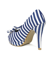 Mast & Harbour Women Blue & White Striped Peep-Toes