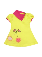 Oye Girls Yellow A-Line Dress