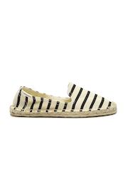 Soludos Women Beige & Black Striped Smoking Slipper Classic Flat Shoes