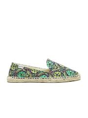 Soludos Women Purple & Green Printed Smoking Slipper Flat Shoes
