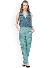 Eavan Women Sea Green & Blue Printed Jumpsuit