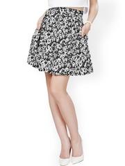 Eavan Black Printed Flared Skirt
