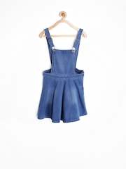 United Colors of Benetton Girls Blue Denim Dungaree Dress