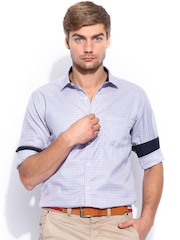 Independence Men Lavender & Pink Checked Slim Fit Smart Casual Shirt