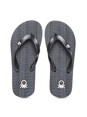 United Colors of Benetton Men Grey & Black Printed Flip-Flops