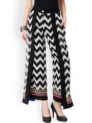 Glam and Luxe Women Black & White Printed Palazzo Trousers