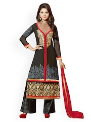 Hypnotex Women Black Embroidered Salwar Suit with Sharara Pants & Dupatta