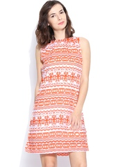 AND by Anita Dongre White & Orange Printed Shift Dress