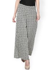 Trend 18 Women Black & Cream-Coloured Printed Palazzo Trousers