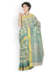 Saree Swarg Green & White Printed Cotton Traditional Saree