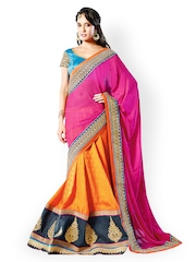 Touch Trends Magenta & Orange Embroidered Georgette Partywear Lehenga Saree