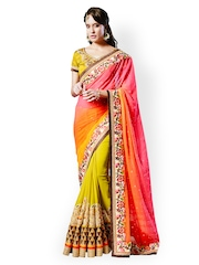 Touch Trends Multicoloured Embroidered Georgette & Chiffon Partywear Saree