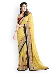Touch Trends Beige Embroidered Georgette Partywear Saree