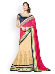 Touch Trends Red & Beige Embroidered Georgette Partywear Lehenga Saree