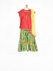 BIBA Girls Mughal Chintz Multicoloured Kurta with Palazzo Pants & Dupatta