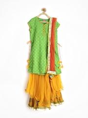 BIBA Girls Green & Orange Kurta with Sharara Pants & Dupatta
