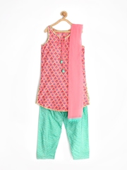 BIBA Girls Mughal Chintz Pink & Sea Green Printed Salwar Kurta with Dupatta