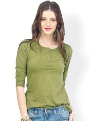 FabAlley Women Olive Green Henley T-Shirt