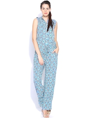 BIBA OUTLET Women Off-White & Blue Printed Jumpsuit