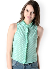 Oranje Clothing Women Green & White Polka Dot Printed Top