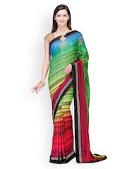 Fabroop Multicoloured Printed Satin Partywear Saree