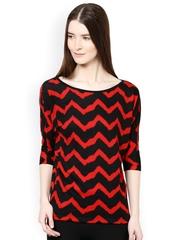 Raindrops Women Red & Black Printed Top