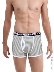 Superdry Men Grey Melange & White Striped Sport Boxer Briefs M31KY001F1