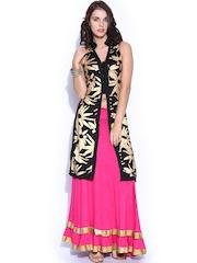Ira Soleil Black & Pink Kurta with Skirt