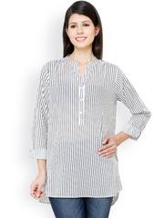 Vaak Women White Striped Tunic