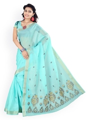 Triveni Blue Embroidered Cotton Traditional Saree