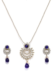 Zaveri Pearls Gold-Toned & Blue Earrings & Pendant Set with Chain