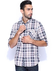 GUESS Off-White & Grey Checked Slim Casual Shirt