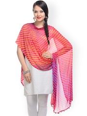 Ruhaans Women Red Laheriya Dupatta