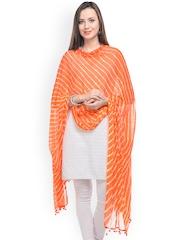 Ruhaans Women Orange & White Laheriya Dupatta