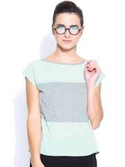 Colors Couture Mint Green & Grey Dot Print Top