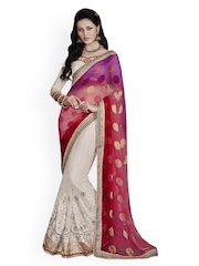 Indian Women Purple & Beige Jacquard Partywear Saree