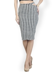 FabAlley Black & White Houndstooth Checked Pencil Skirt