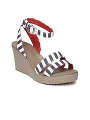 Crocs Women White & Navy Striped Wedges