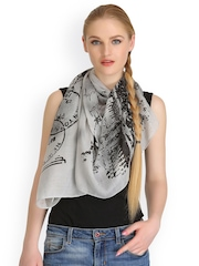 CoolThreads Women Grey Printed Scarf